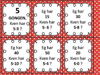 Multiplikasjons-loop, NYNORSK. 1-10 gongen.
