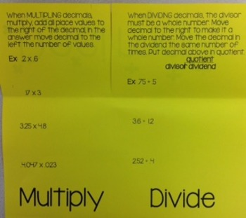 Decimals - Multiplying and Dividing Foldable