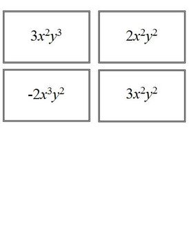 Multiplying Exponents Card Match Game