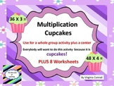 Multiply 2 Digit by 1 Digit--slide show, center, and worksheets--Cupcake Theme