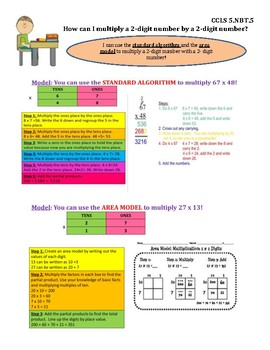 Multiply 2 Digit by 2 Digit Numbers InstaChart