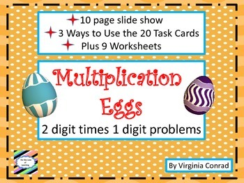 Multiply 2 digit number by 1 digit number---Easter Eggs