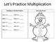 Multiply 3 Digit by 1 Digit Number:  Snowman Theme