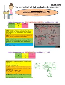Multiply 3 Digit by 2 Digit Numbers InstaChart