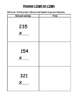 Multiply 3 Digits by 1 Digit Game