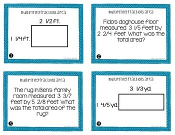 Multiply Area With Fractions Task Cards for 5th Grade