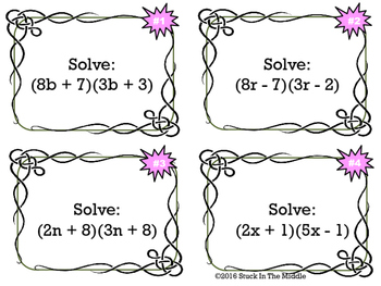 Multiply Binomials (FOIL) Task Cards