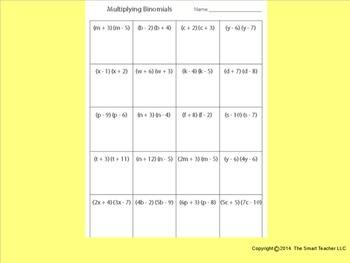 Multiply Binomials Worksheet