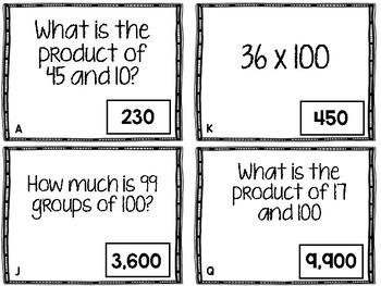 Multiply By 10's and 100's TEKS 4.4B Scavenger Hunt