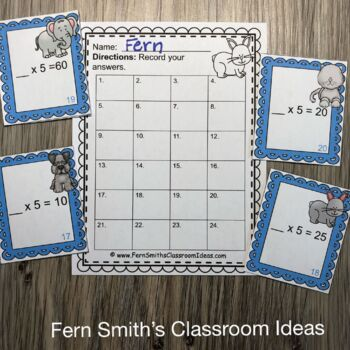 3rd Grade Go Math 4.2 Multiply With Five Task Cards