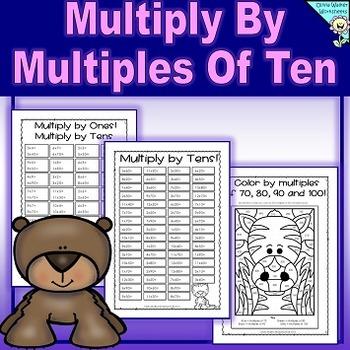Multiply By Multiples of Ten (10) Worksheets Printables (Tens Multiplication)
