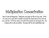 Mulitiplication Match/Concentration