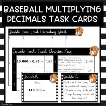 Multiply Decimal Baseball Game Review OR Task Cards