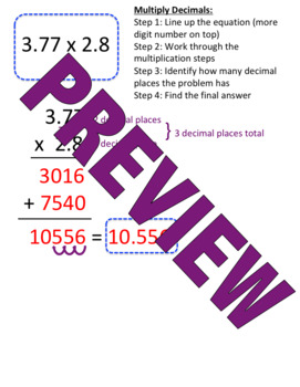 Multiply Decimal Note Sheet