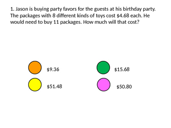Multiply Decimal Word Problems