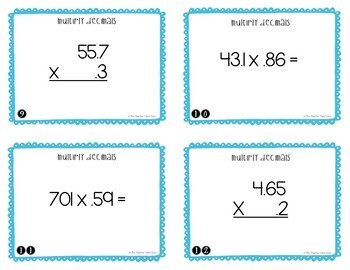 Multiply Decimals Task Cards for 5th Grade