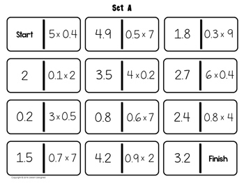 Multiply Decimals Dominoes