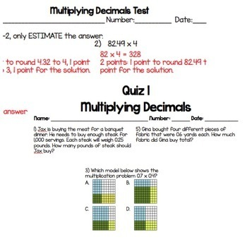 Multiply Decimals Homework, Quiz, and Test Packet