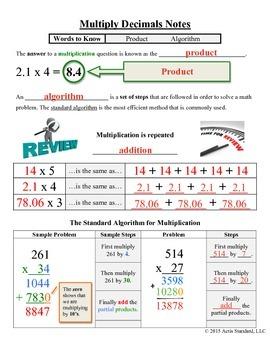 Multiply Decimals Notes