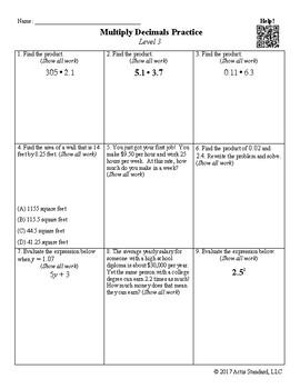 Multiply Decimals Practice