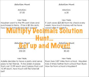 Multiply Decimals Solution Hunt