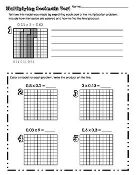 Multiply Decimals Test