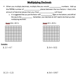 Multiply Decimals by Decimals GUIDED NOTES