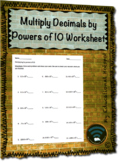 Multiply Decimals by Powers of 10 Worksheet