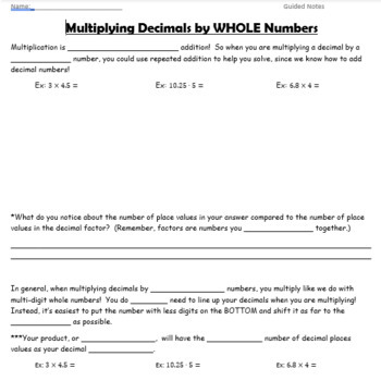 Multiply Decimals by Whole Numbers GUIDED NOTES