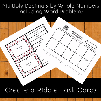 Multiply Decimals by Whole Numbers w/ Word Problems Create a Riddle Task Cards