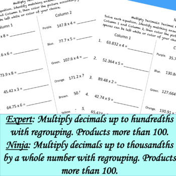 Multiply Decimals by a Whole Color by Answer DIFFERENTIATED Fun Pages