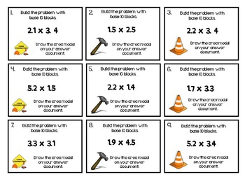 Multiply Decimals with Area Models Task Cards (TEKS 5.3D CCSS 5.NBT.7)