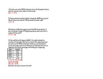 Multiply Decimals with Estimation worksheet