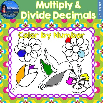 Multiply & Divide Decimals Math Practice May Flowers Color