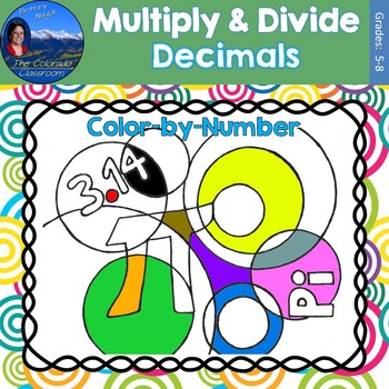 Multiply & Divide Decimals Math Practice Pi Day Color by Number