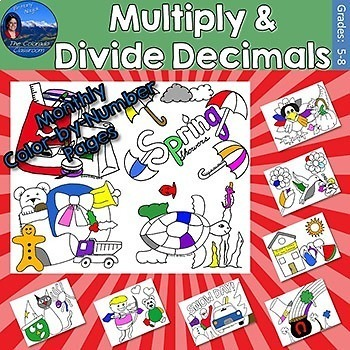 Multiply & Divide Decimals Monthly Color by Number Pages