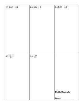 Multiply Divide Decimals Quiz