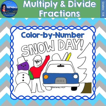 Multiply & Divide Fractions Math Practice Snow Day Color b