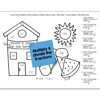 Multiply & Divide Fractions Math Practice End of Year Color by Number