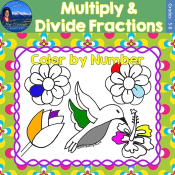 Multiply & Divide Fractions Math Practice May Flowers Colo