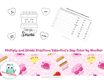Multiply & Divide Fractions Valentine's Day Color by Number