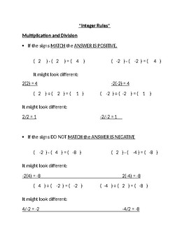 Multiply & Divide Integers: Guided Notes