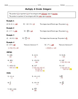 Multiply & Divide Integers Guided Notes & Practice