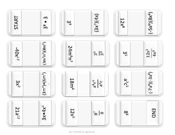 Multiply & Divide Monomials Domino Puzzle FREEBIE
