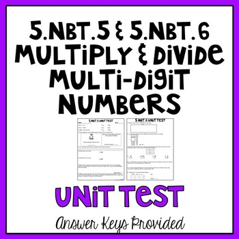 5th Grade Common Core Multiply & Divide Multi-Digit Numbers Assessment