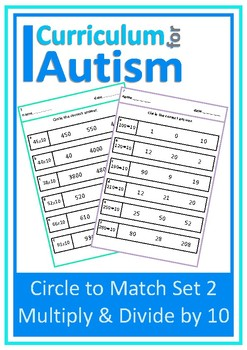 Multiply Divide by 10 Autism Special Education Independent Work