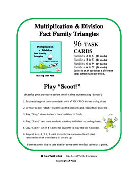 Multiply & Divide | MATH Task Cards| Early Finishers | FACT FAMILIES |Gr 3 CORE