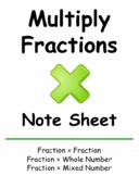Multiply Fraction Note Sheet
