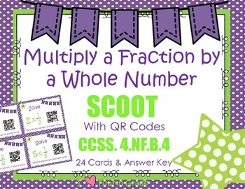 Multiply Fraction by a Whole Number Scoot with QR CODES  C