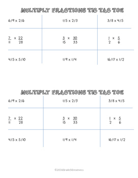 Multiply Fractions Math Activities